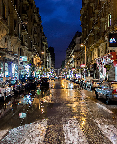Kasr Al Nile Street at Cairo Downtown during the rain at night