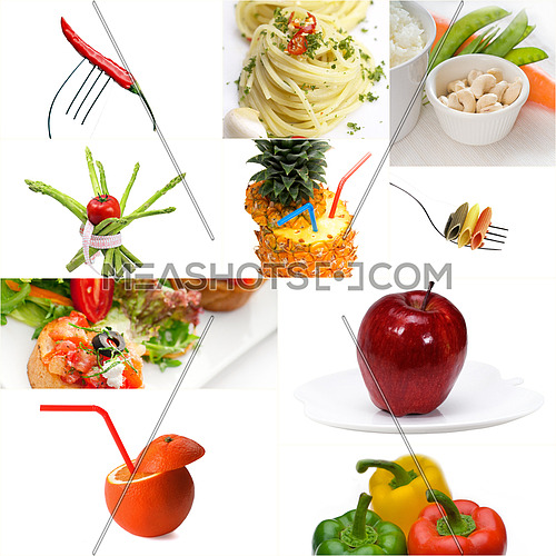 Organic Vegetarian Vegan dietetic  food collage  bright  mood