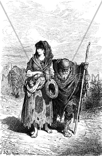 A centennial and her granddaughter beggar in Berja, vintage engraved illustration. Le Tour du Monde, Travel Journal, (1865).