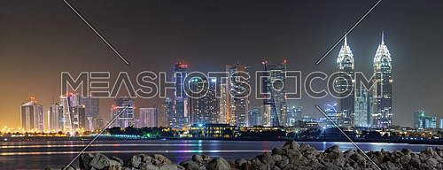 Dubai Towers Skyline at night