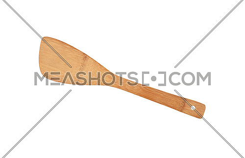 Close up one wooden spatula, natural cooking kitchen utensil of palm wood, isolated on white background, elevated top view, directly above
