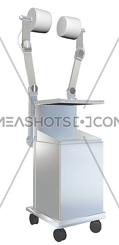 Mobile medical equipment, metal, 3D illustration, isolated against a white background.