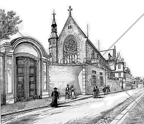 Convent of the Sacred Heart of Jesus in Pyrenees-Atlantiques,  Aquitaine, France. The former home of Charles de Gontaut, the Duke of Biron. Vintage engraving.
