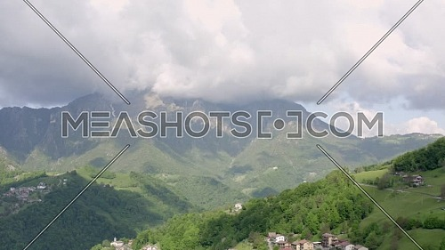 Great aerial view of the Orobie Alps and sky with clouds. Panorama from Seriana valley,Bergamo,Italy.
