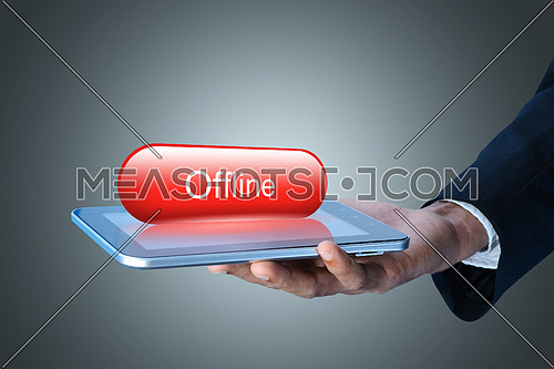Man showing Tablet computer with offline concept