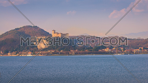 Fortress of Angera (Rocca di Angera), view from Arona, lake Maggiore, Italy.