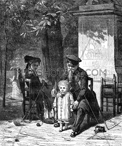 A volunteer three years, vintage engraved illustration. Magasin Pittoresque 1876.