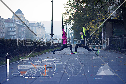 Man and woman stretching on the street in the morning with statistics on the bottom