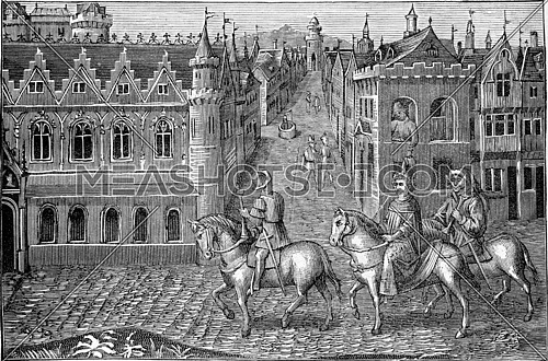 Miniature of a manuscript of the fifteenth century, belonging to the Royal Library in Brussels, vintage engraved illustration. Industrial encyclopedia E.-O. Lami - 1875.