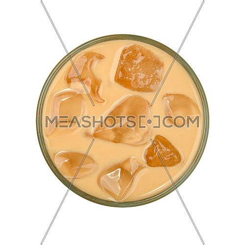 Close up one big glass of coffee with milk and ice cubes isolated on white background, elevated top view, directly above