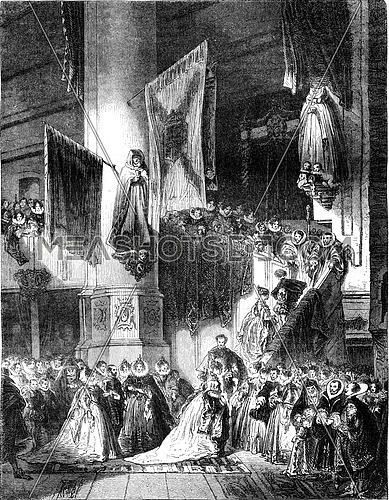 An interior view of the Church of Delft, in the sixteenth century, vintage engraved illustration. Magasin Pittoresque 1847.