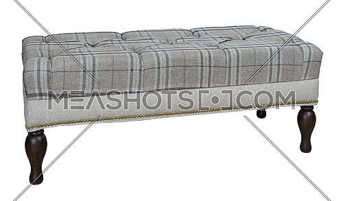 Long bedroom storage bench (stool) with dark brown wooden legs isolated on white background including clipping path