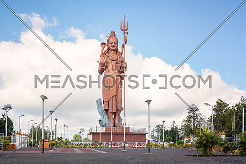 Huge and awesome Shiva statue,near grand Basin temple in Mauritius island.