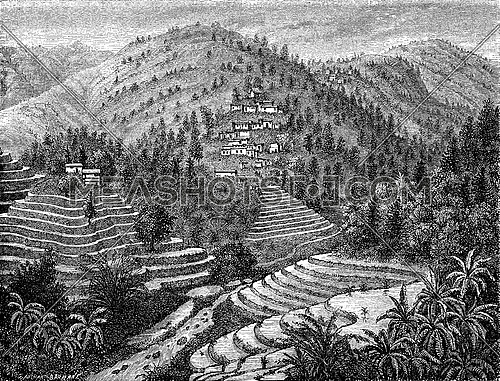 Village and rice mountain, Road Pu-erh, vintage engraved illustration. Le Tour du Monde, Travel Journal, (1872).