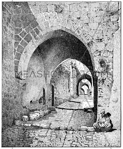 Street View of the city, Jerusalem, vintage engraved illustration. Dictionary of words and things - Larive and Fleury - 1895.