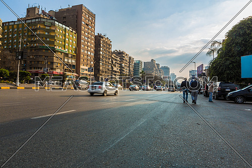 Low angel shot for traffic in Gamet Al Dowal Street at Cairo at Day