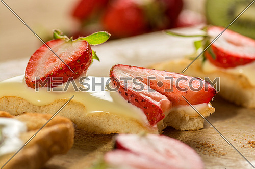Strawberries fresh snack with cream