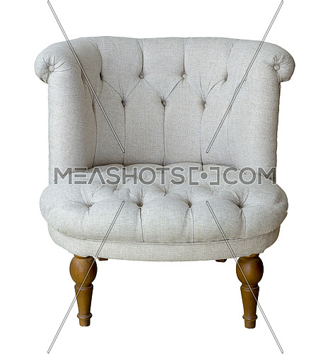 Vintage furniture: French grey tub chair with wooden legs isolated on white background including clipping path