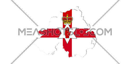 Northern Ireland Ulster Banner. Map With Flag On It Isolated On White Background 3D illustration
