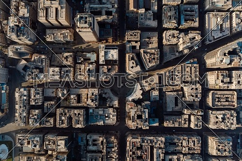 flying over Downtown Cairo bird's eye view from above ,empty streets at lockdown during covid 19, corona virus