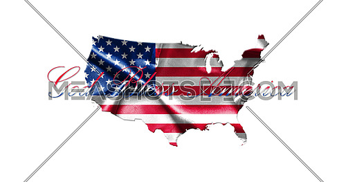 United States of America Map With American Flag Isolated On White Background 3D illustration