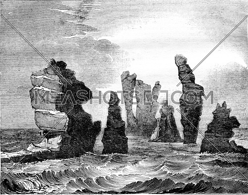 Destructive action of the Ocean, View of a group of rocks beaten by the waves, in the Shetland Islands, vintage engraved illustration. Magasin Pittoresque 1836.