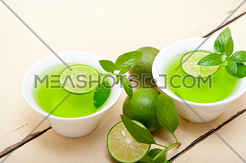 fresh and healthy mint infusion tea tisane with lime