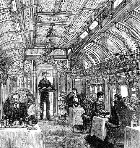 The cars of the Pacific Railroad. The dining car, vintage engraved illustration. Journal des Voyages, Travel Journal, (1879-80).