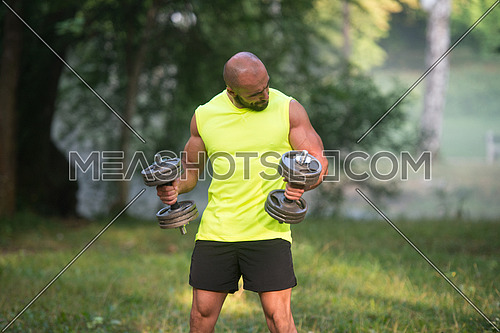Muscular Adult Caucasian Man Doing A Exercise For Biceps With Dumbbells Outdoors Workout
