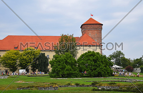 Side view of medieval Wawel Royal Castle, one of most popular tourist attractions and landmarks in Krakow, Poland