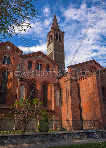 Basilica of Sant Eustorgio Milan,Italy- vertical photo.