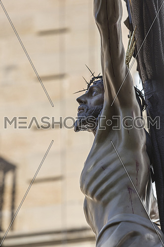 Figure of Jesus on the cross carved in wood by the sculptor Gabino Amaya Guerrero, Holy Christ of the expiry, Linares, Jaen province, Spain