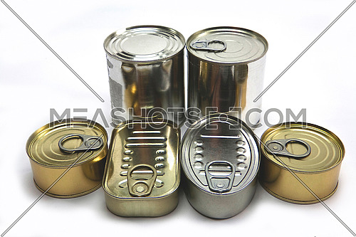 Different types of canned cans, isolated on white background, conceptual image