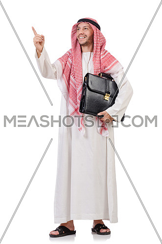 Arab businessman  with briefcase  pressing virtual buttons isolated on white
