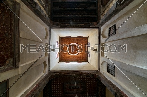 Ceiling at ottoman era historic El Sehemy house located in Moez street, Gamalia district, Cairo, Egypt
