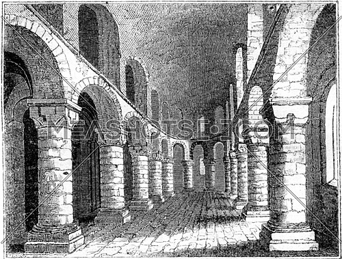 Tower of London, Inside the chapel of the White Tower, vintage engraved illustration. Colorful History of England, 1837.