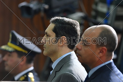 Alaa Mubarak During court at 'Borders Break' case in front - December 2018.