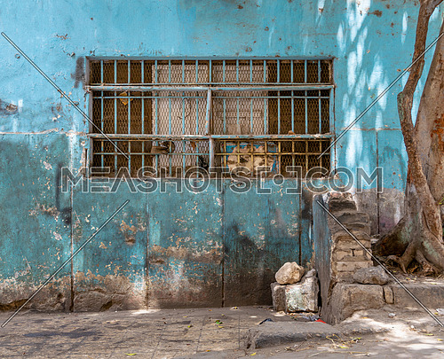 Abandoned grunge turquoise painted wall with closed window covered with rusty protective iron bars and tree trunk