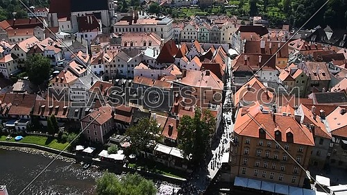 High angle aerial summer day view historical old town of Cesky Krumlow, Czech Republic