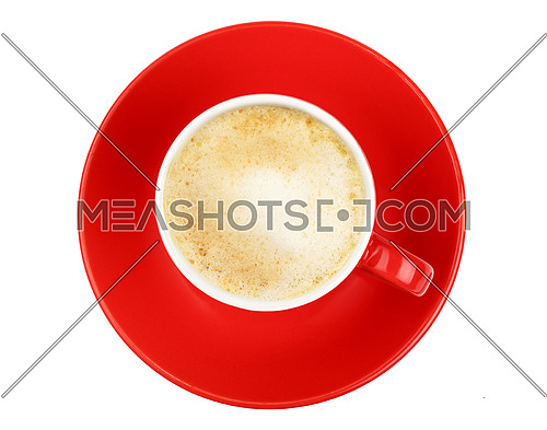 One full morning latte cappuccino or macchiato coffee with milk froth in small red cup with saucer isolated on white background, top view, bird eye view