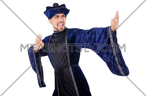 Old martial arts master in blue kimono on white