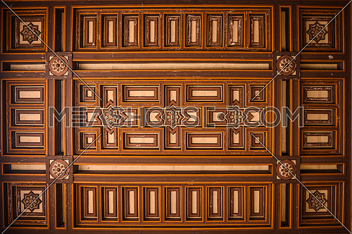 A wooden ceiling in an old church