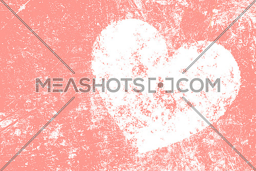 Grunge white heart over teal pink noisy abstract romantic background