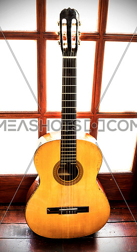 Vintage guitar all scratched and old standing leened at the wooden door