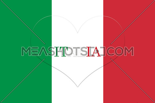 Italy Flag Heart Shape. Official colors and proportion. National Flag of Italy illustration