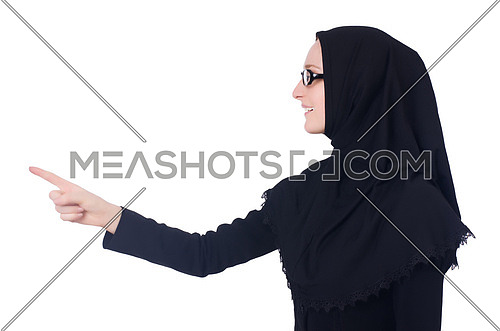 Woman pressing virtual buttons on white