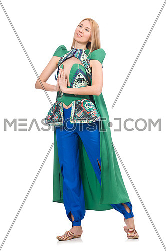 Woman in oriental green clothing isolated on white