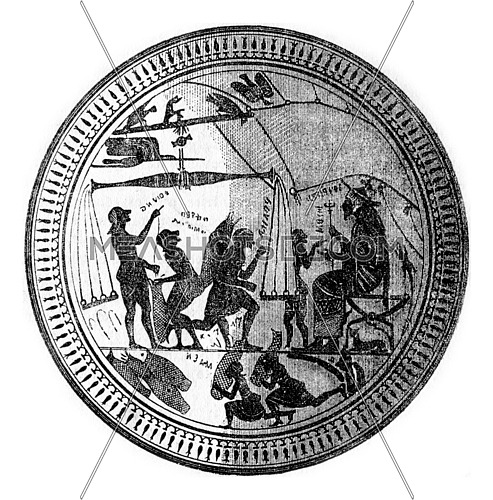 The celebrated cup of Arcesilaus, in plan, work of the Cyrenian potters contemporary with Pindar, 500 B.C, vintage engraved illustration.
