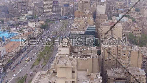 Fly Over for Al Mohandseen area revealing Gamet Al dowal Street in 22th of March 2018 in Giza  at day