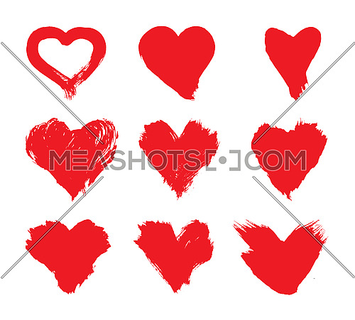 Set of vector illustrations of grunge brushstroke painted red heart shapes isolated on white background